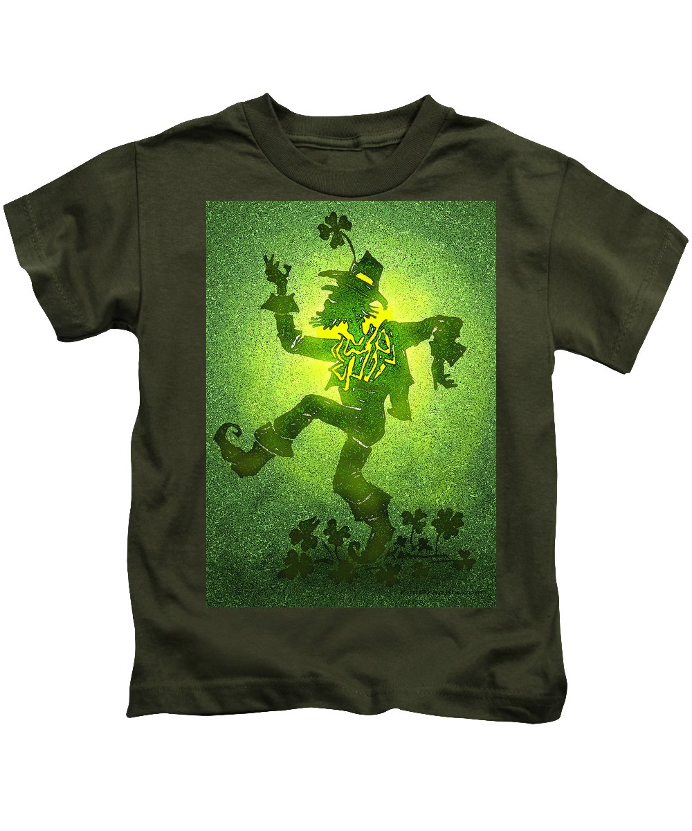 St. Patrick Kids T-Shirt featuring the digital art Patty by Kevin Middleton