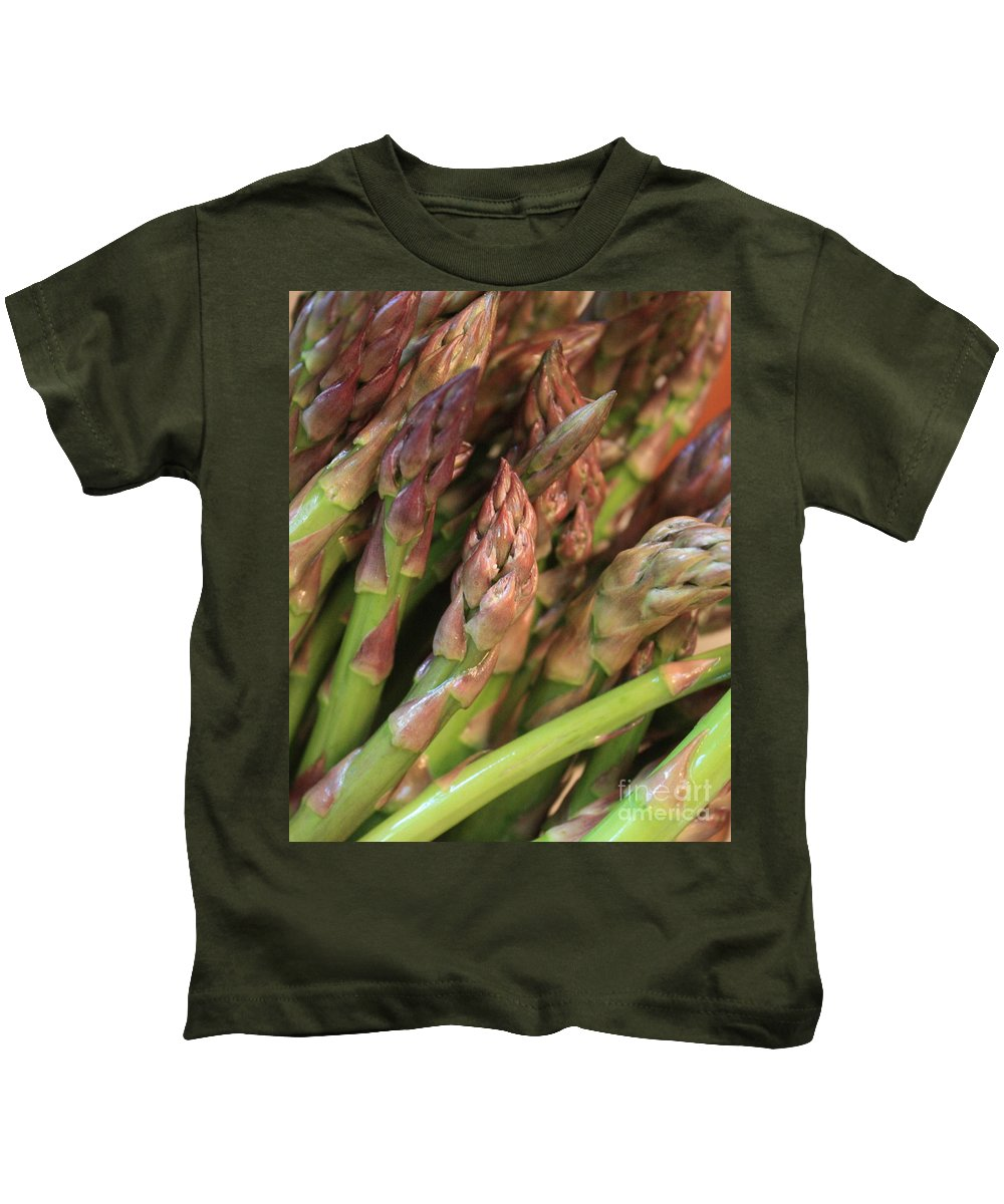 Asparagus Kids T-Shirt featuring the photograph Asparagus Tips 2 by Carol Groenen