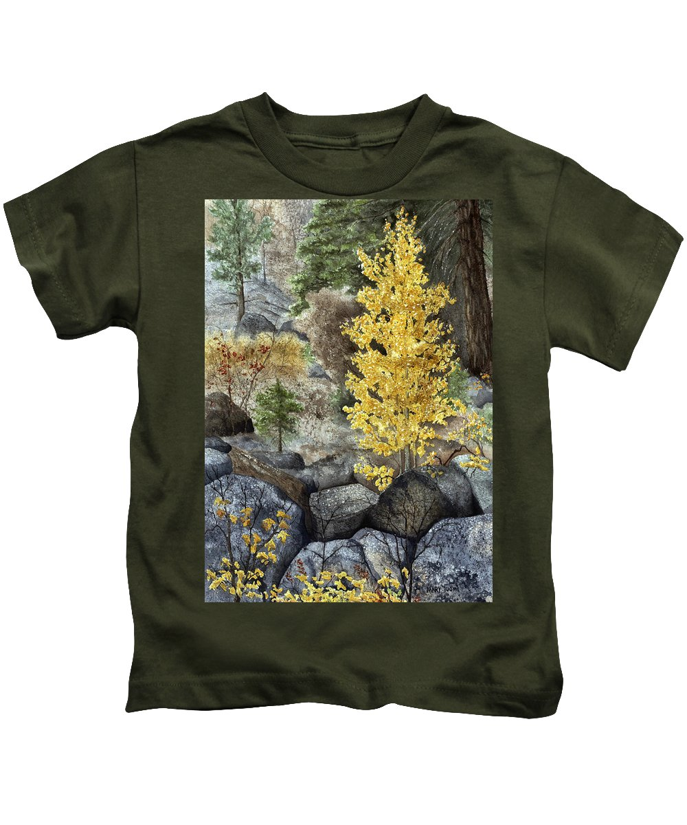Autumn Kids T-Shirt featuring the painting Aspen Gold by Mary Tuomi