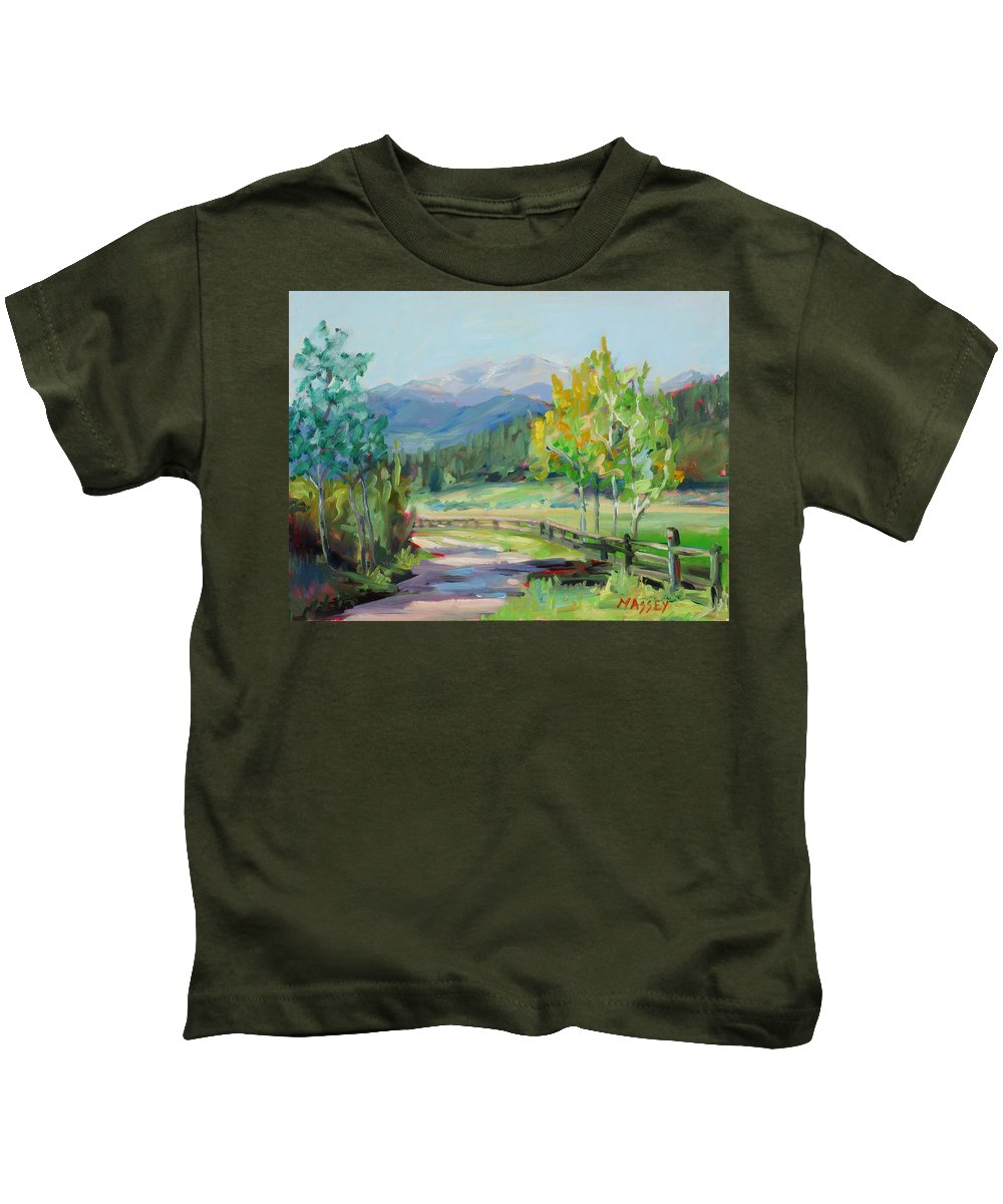 Rocky Mountains Kids T-Shirt featuring the painting Aspen Lane by Marie Massey