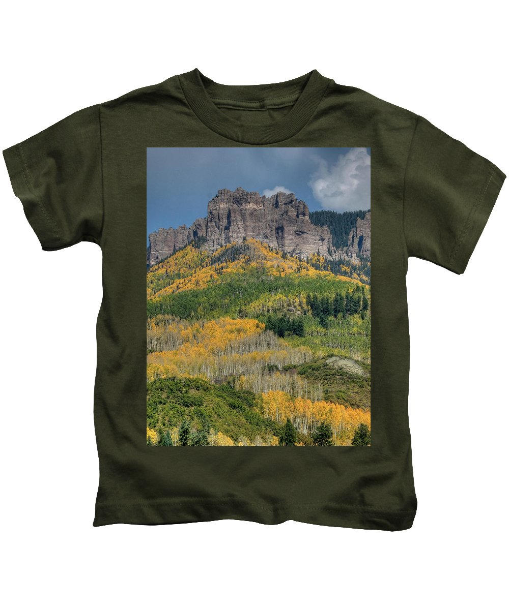 Aspens Kids T-Shirt featuring the photograph Aspens by Linda Weyers
