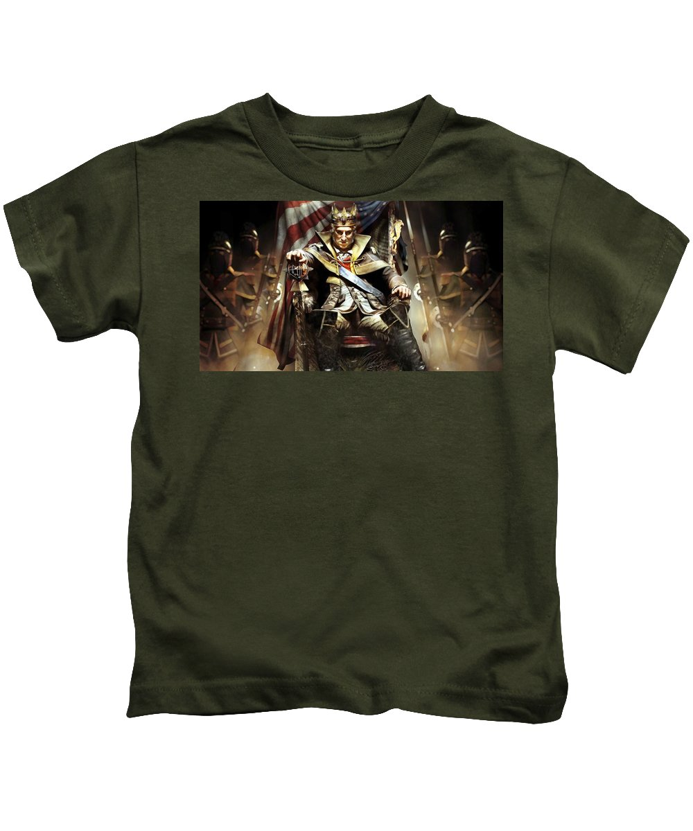 Assassin's Creed Iii Kids T-Shirt featuring the digital art Assassin's Creed IIi by Dorothy Binder