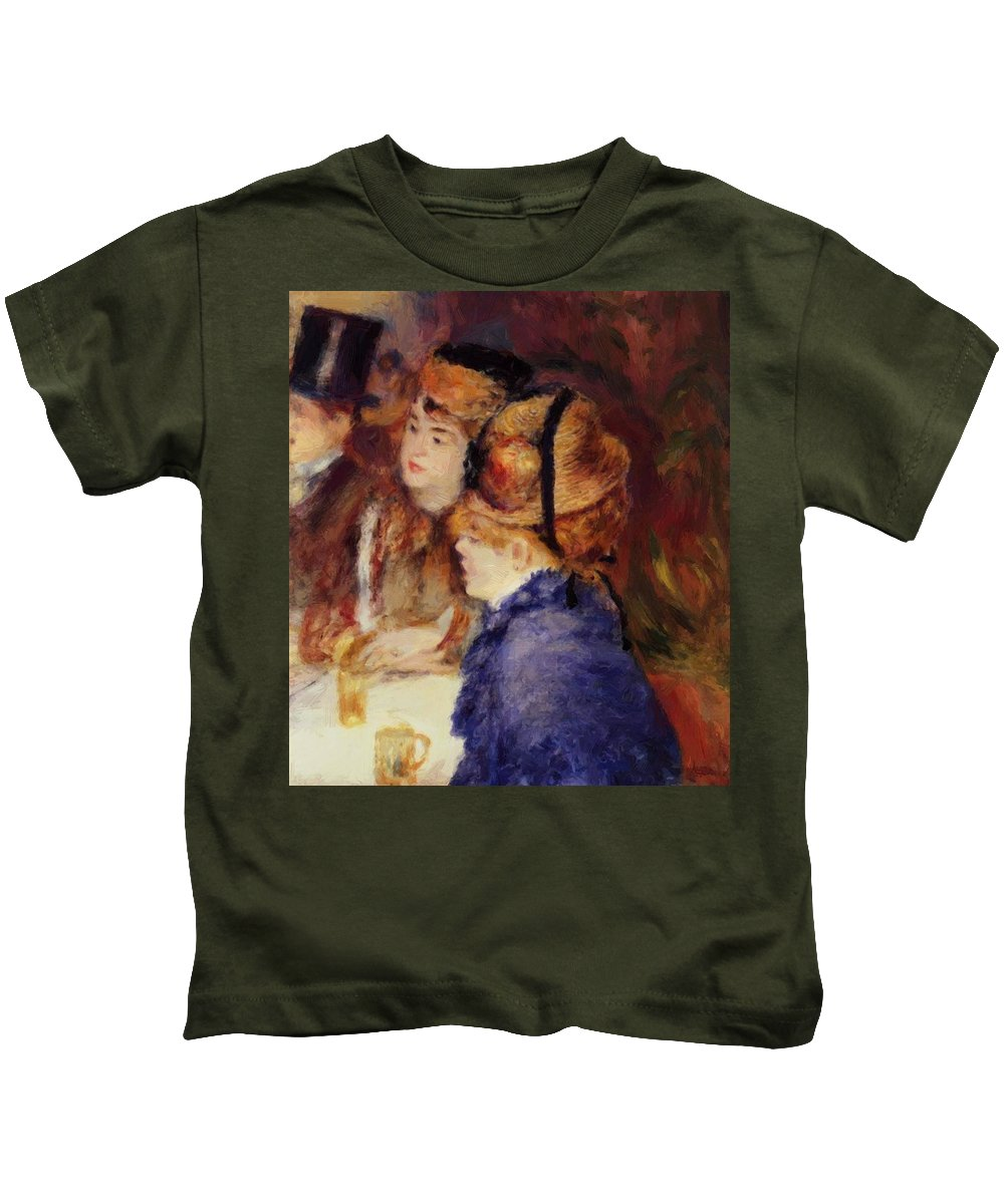 At Kids T-Shirt featuring the painting At The Cafe 1877 by Renoir PierreAuguste