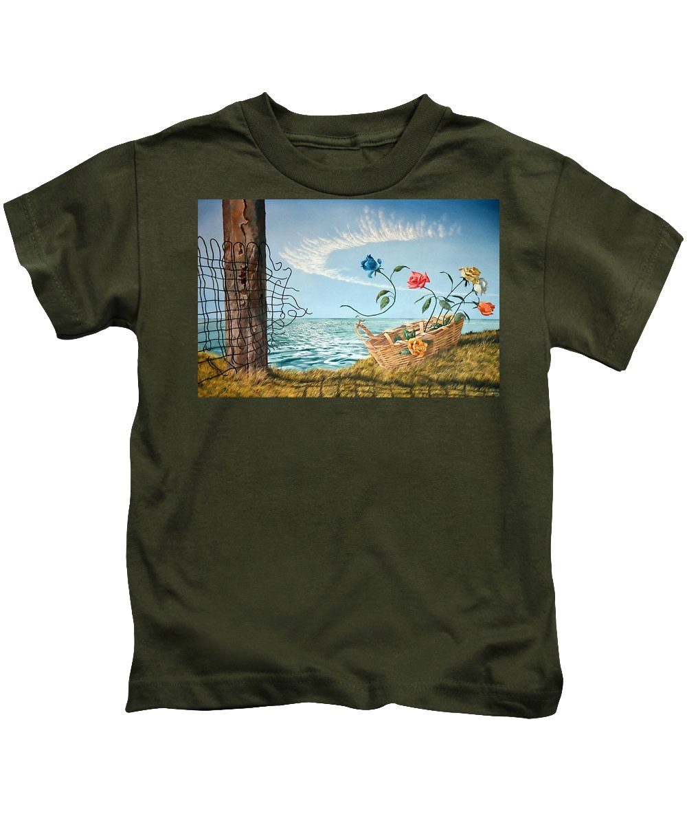 Flower Kids T-Shirt featuring the painting At The End Of The Fence I Am Free by Christopher Shellhammer