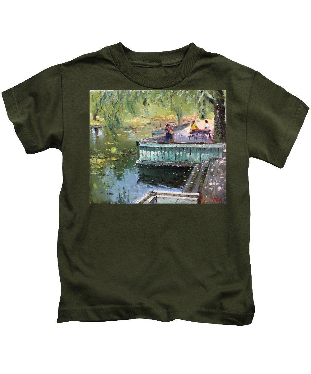 Park Kids T-Shirt featuring the painting At The Park By The Water by Ylli Haruni
