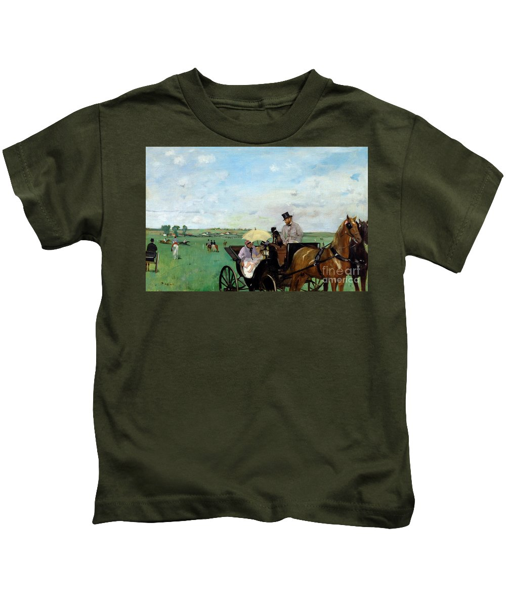 1869 Kids T-Shirt featuring the photograph At The Races In The Countryside, by Edgar Degas