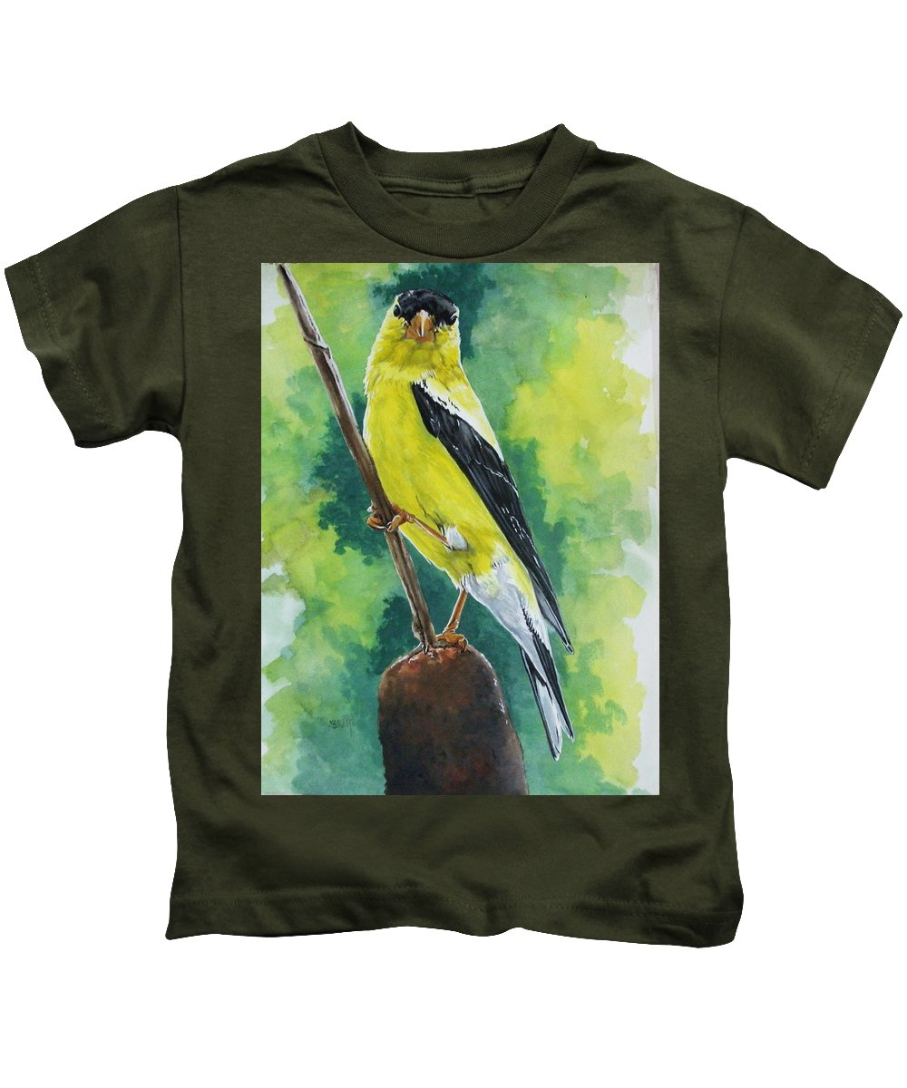 Common Bird Kids T-Shirt featuring the painting Aureate by Barbara Keith