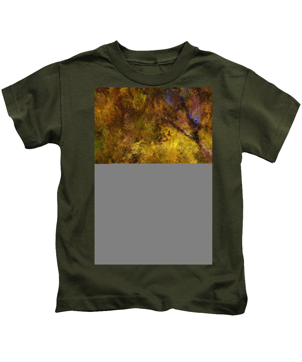 Abstract Digital Painting Kids T-Shirt featuring the digital art Autumn Abstract by David Lane