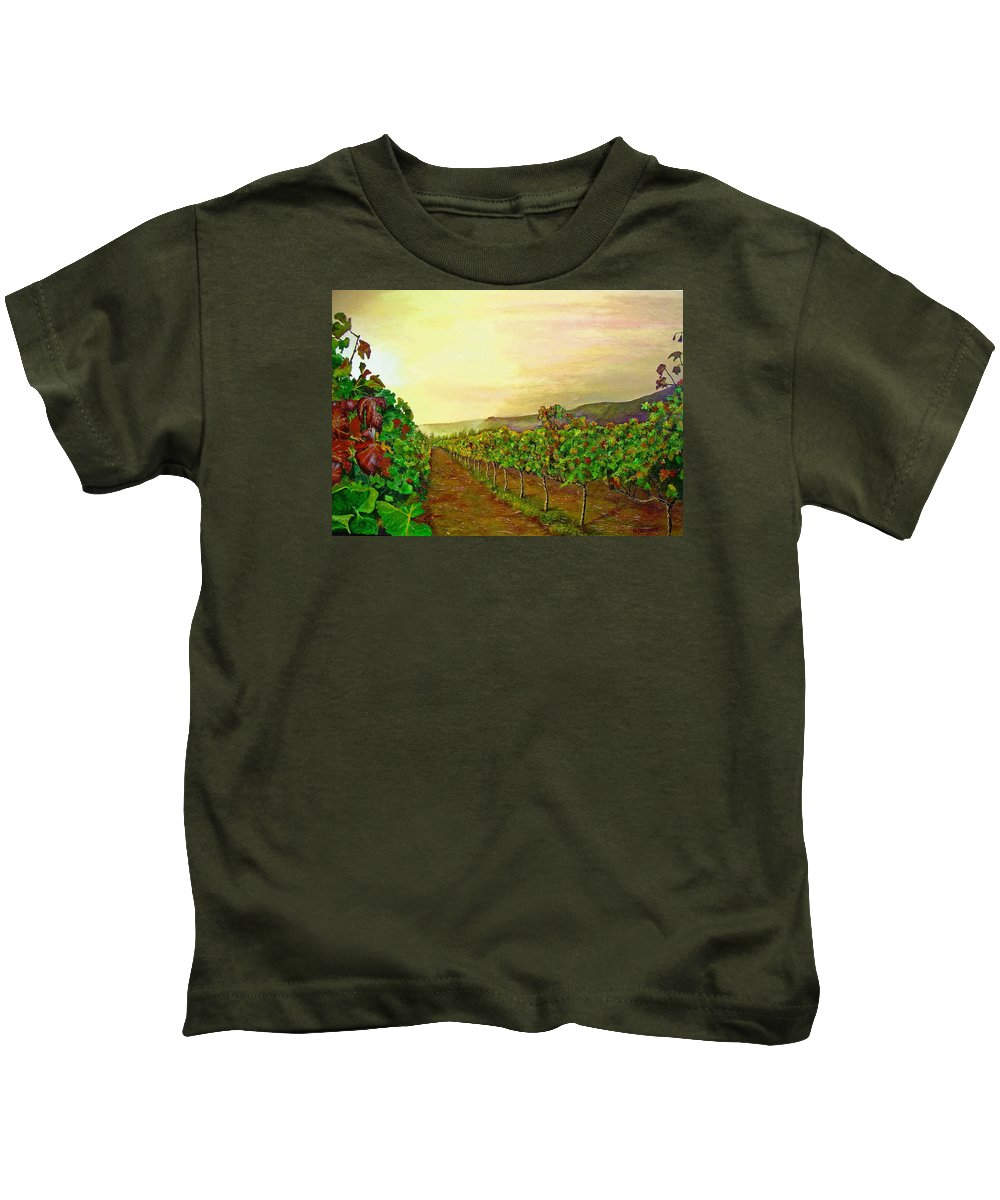 Vineyard Kids T-Shirt featuring the painting Autumn At Steenberg by Michael Durst
