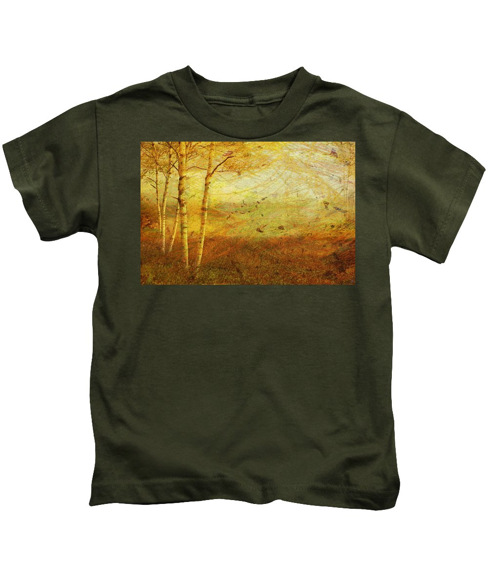 Autumn Kids T-Shirt featuring the digital art Autumn Breeze by Ken Walker
