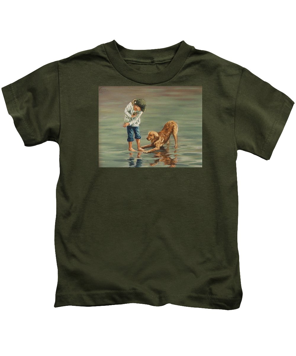 Girl Kid Child Figurative Dog Sea Reflection Playing Water Beach Kids T-Shirt featuring the painting Autumn Eve by Natalia Tejera