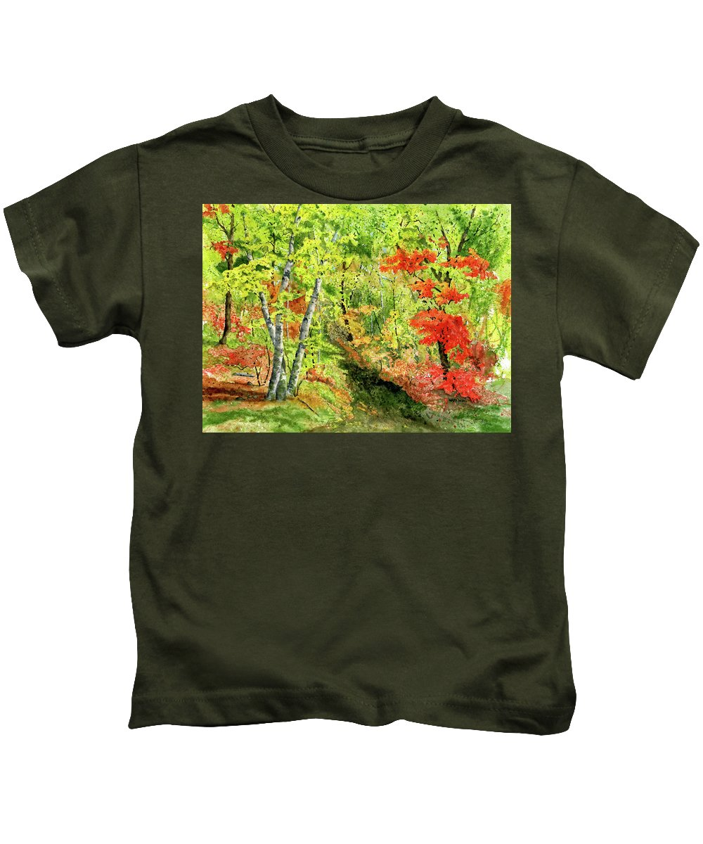 Autumn Kids T-Shirt featuring the painting Autumn Fun by Mary Tuomi