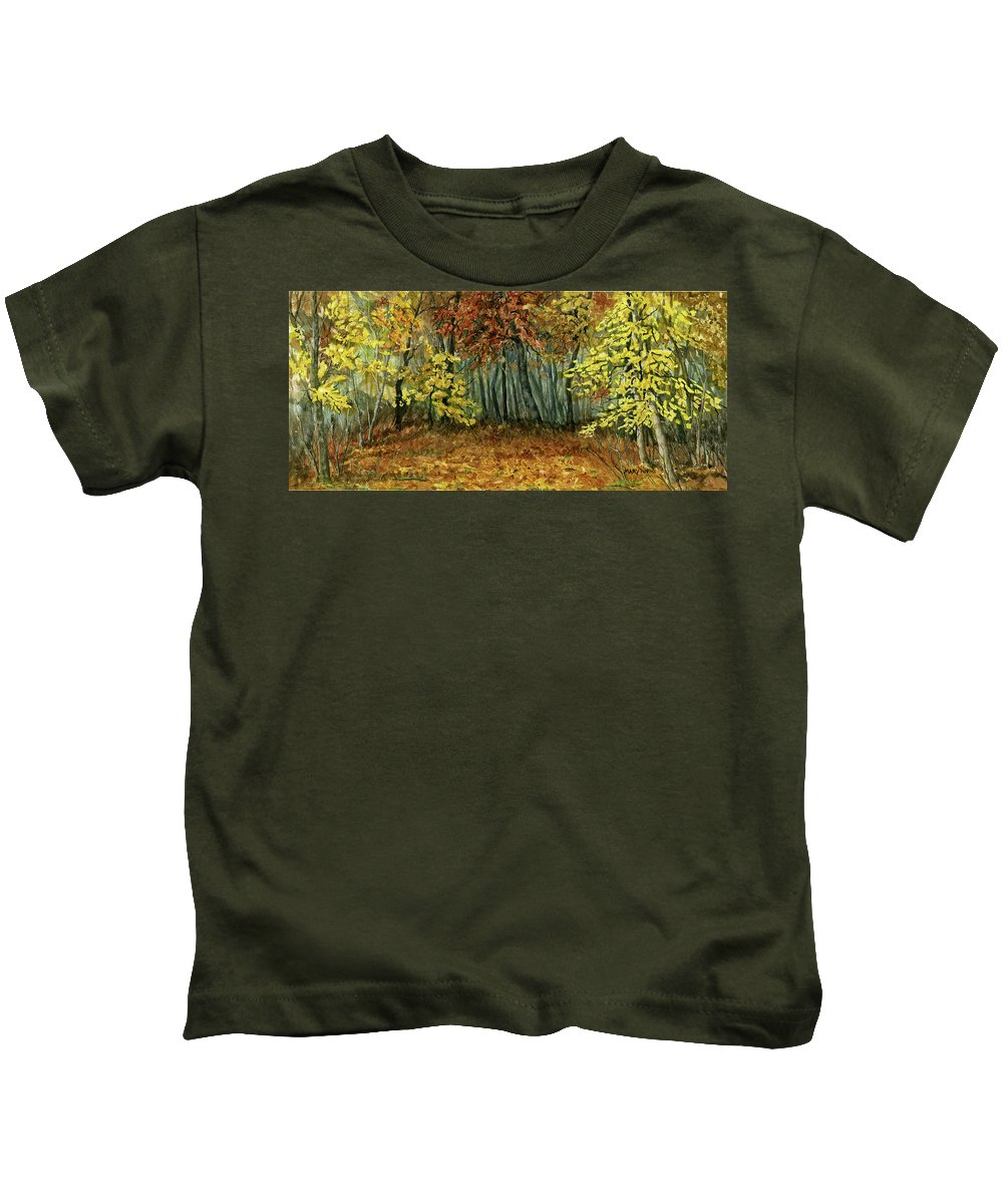 Autumn Kids T-Shirt featuring the painting Autumn Hollow by Mary Tuomi