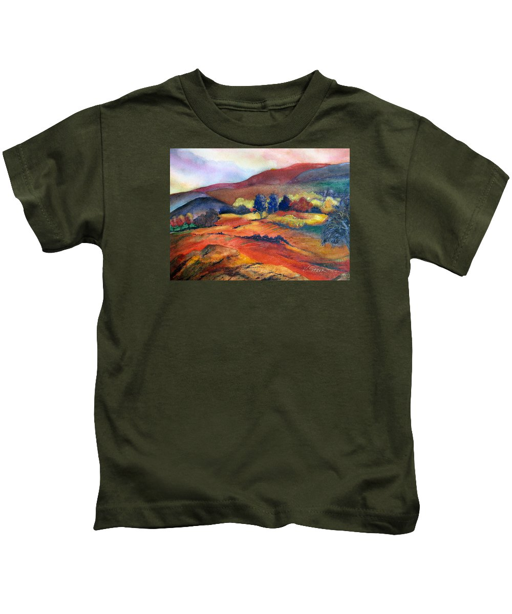 Landscape Kids T-Shirt featuring the painting Autumn In The Country by Karen Stark