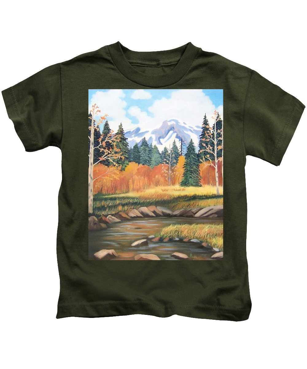 Landscape Kids T-Shirt featuring the painting Autumn In The Mountans by Ruth Housley