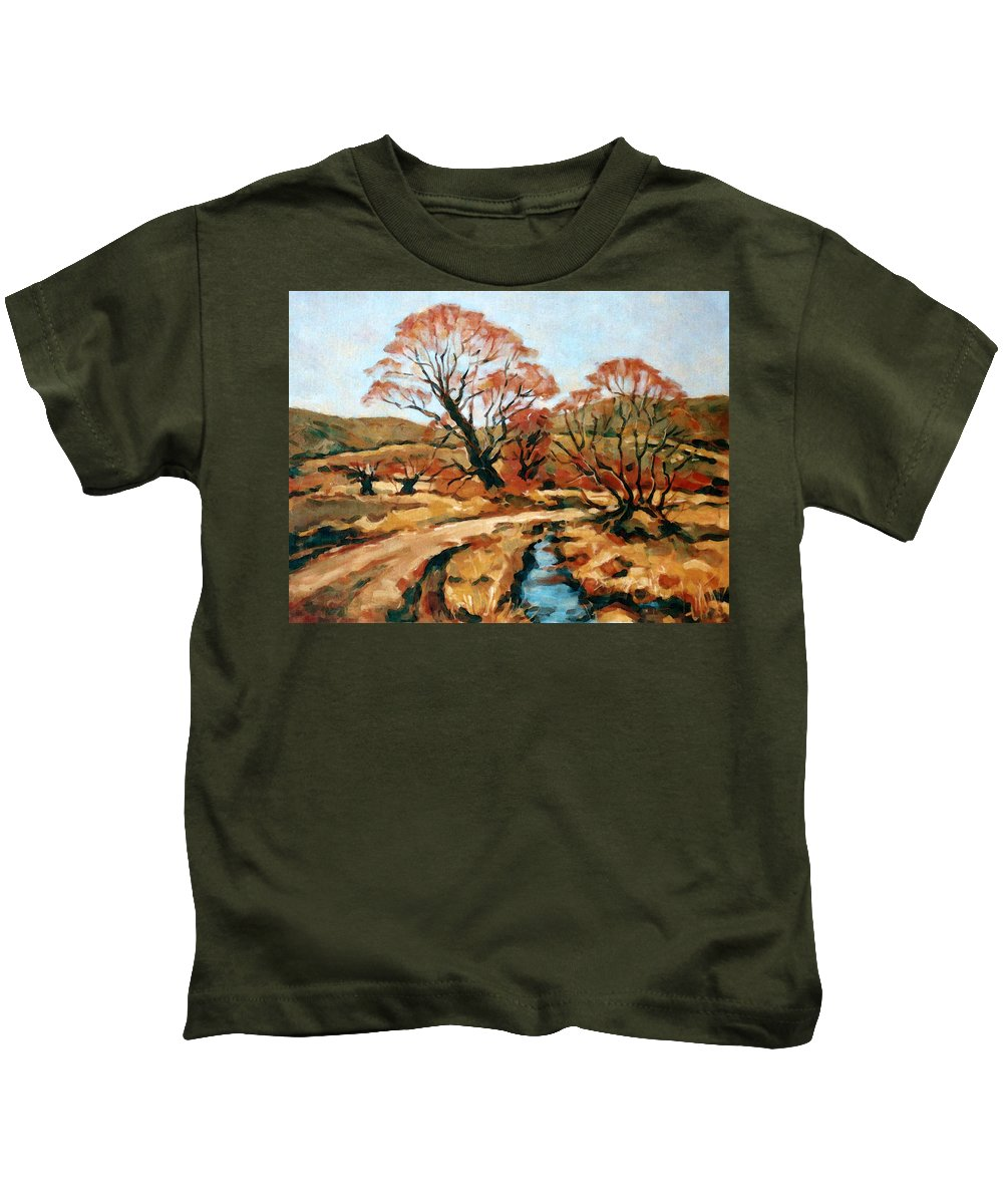 Landscape Kids T-Shirt featuring the painting Autumn Landscape by Iliyan Bozhanov
