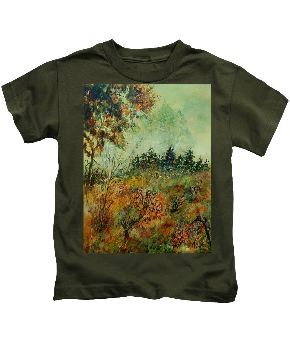 Tree Kids T-Shirt featuring the painting Autumn Mist 68 by Pol Ledent