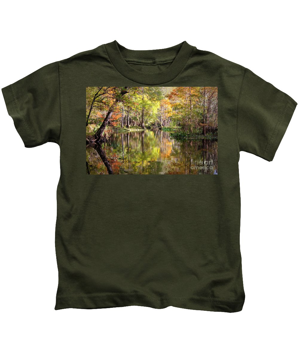 Autumn In Florida Kids T-Shirt featuring the photograph Autumn Reflection On Florida River by Carol Groenen