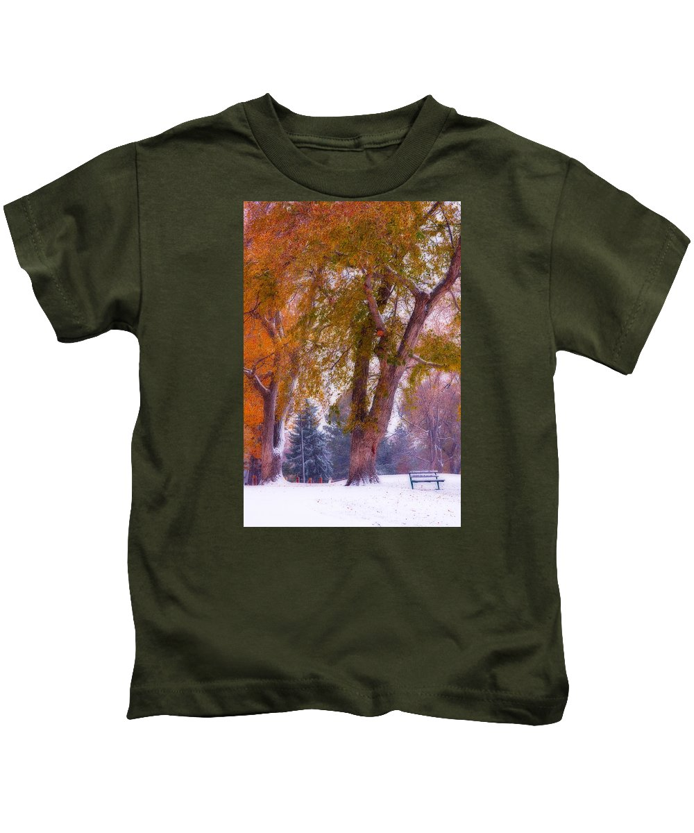 Parks Kids T-Shirt featuring the photograph Autumn Snow Park Bench Peace by James BO Insogna