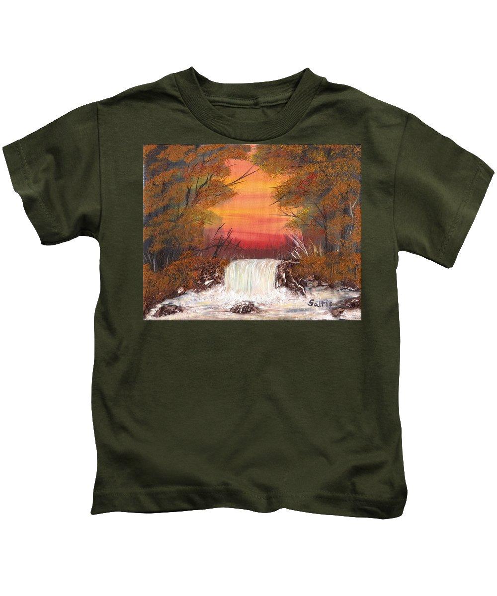 Autumn Landscape Kids T-Shirt featuring the painting Autumn Stream by Jim Saltis