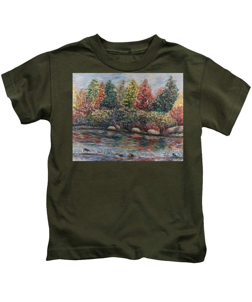 Autumn Kids T-Shirt featuring the painting Autumn Stream by Nadine Rippelmeyer