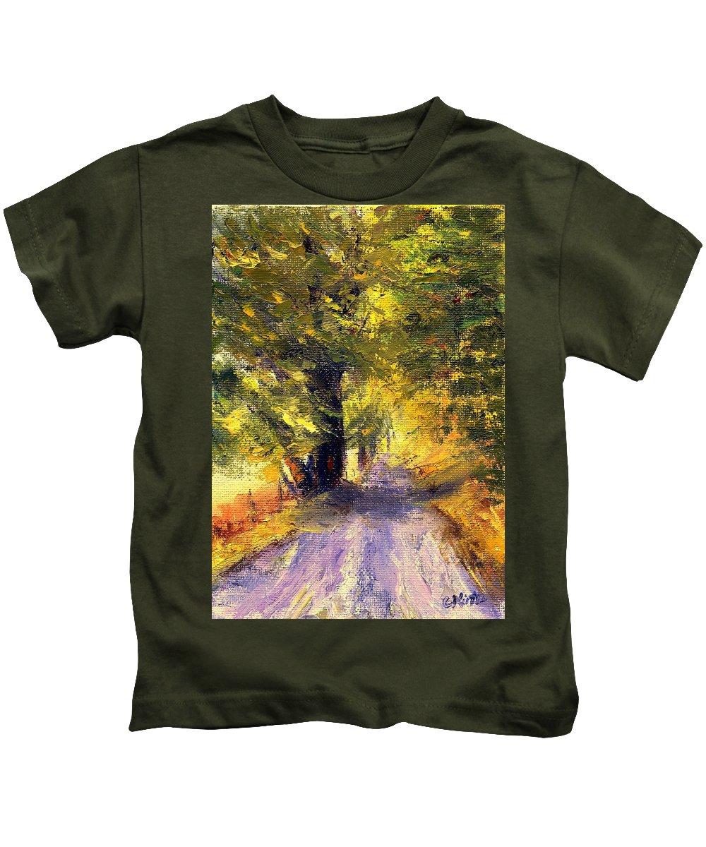 Autumn Kids T-Shirt featuring the painting Autumn Walk by Gail Kirtz