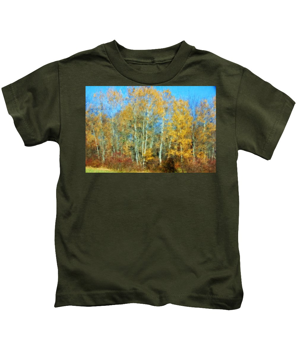 Kids T-Shirt featuring the photograph Autumn Woodlot by David Lane