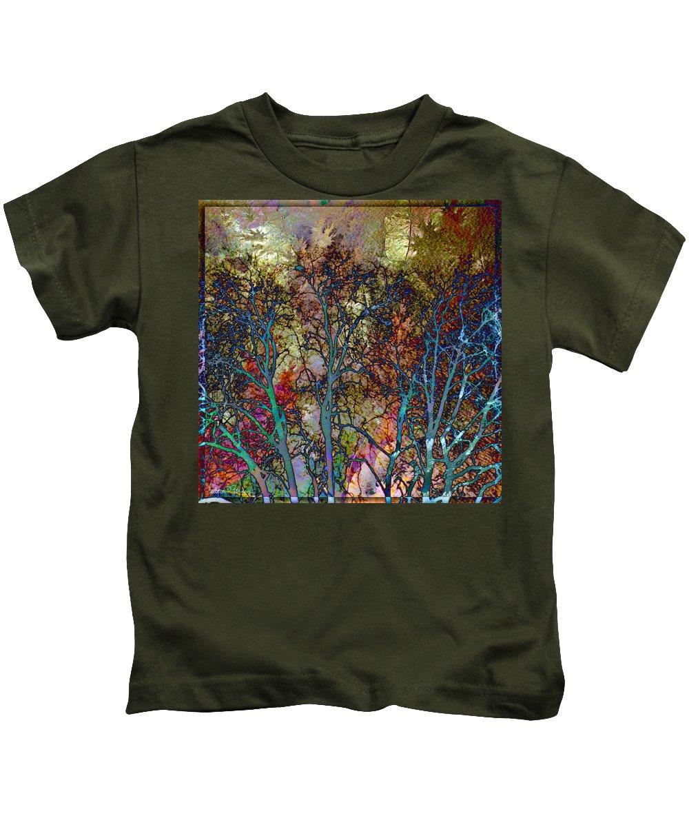 Autumn Kids T-Shirt featuring the digital art Autumn Woods by Barbara Berney