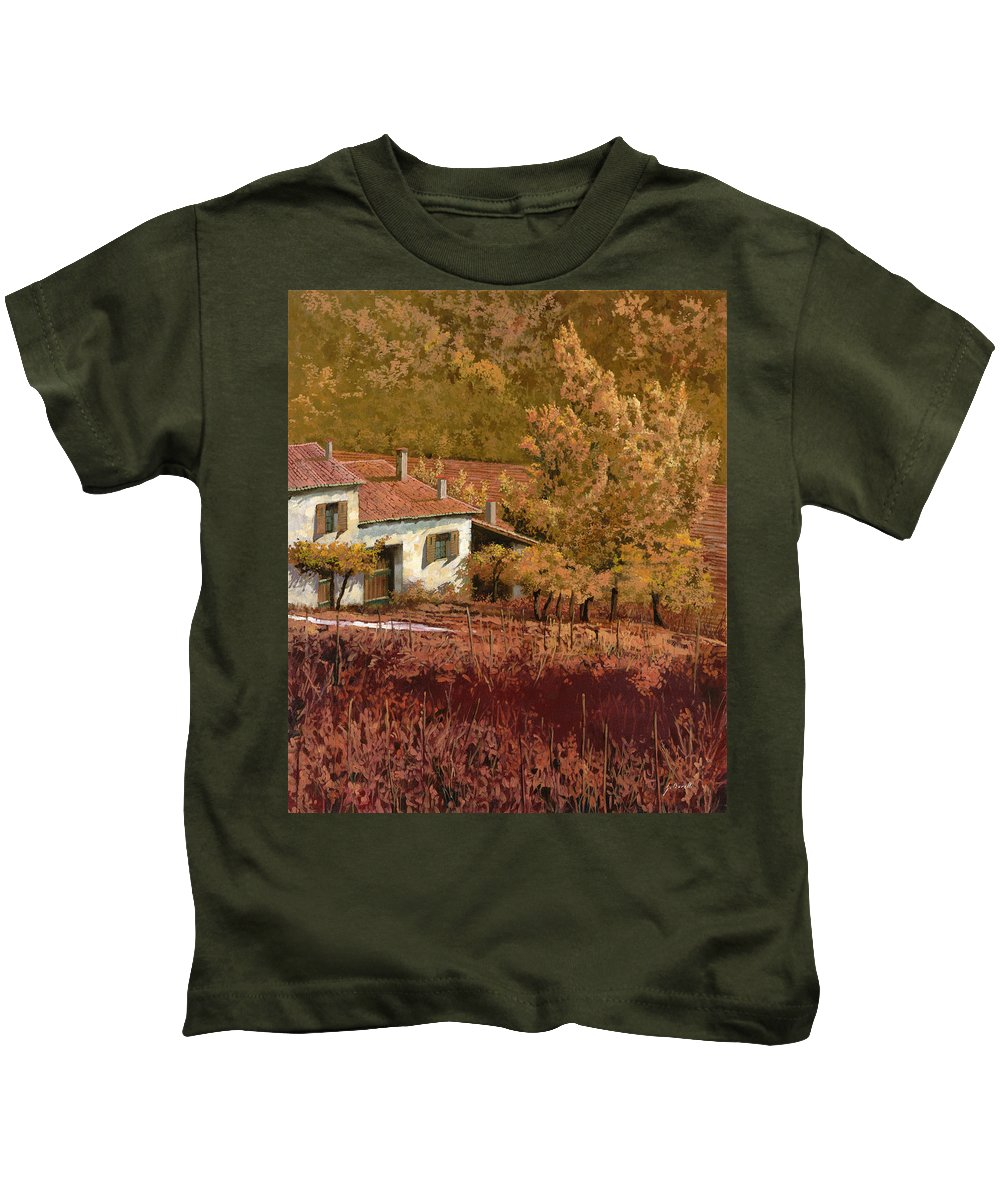Autumn Kids T-Shirt featuring the painting Autunno Rosso by Guido Borelli