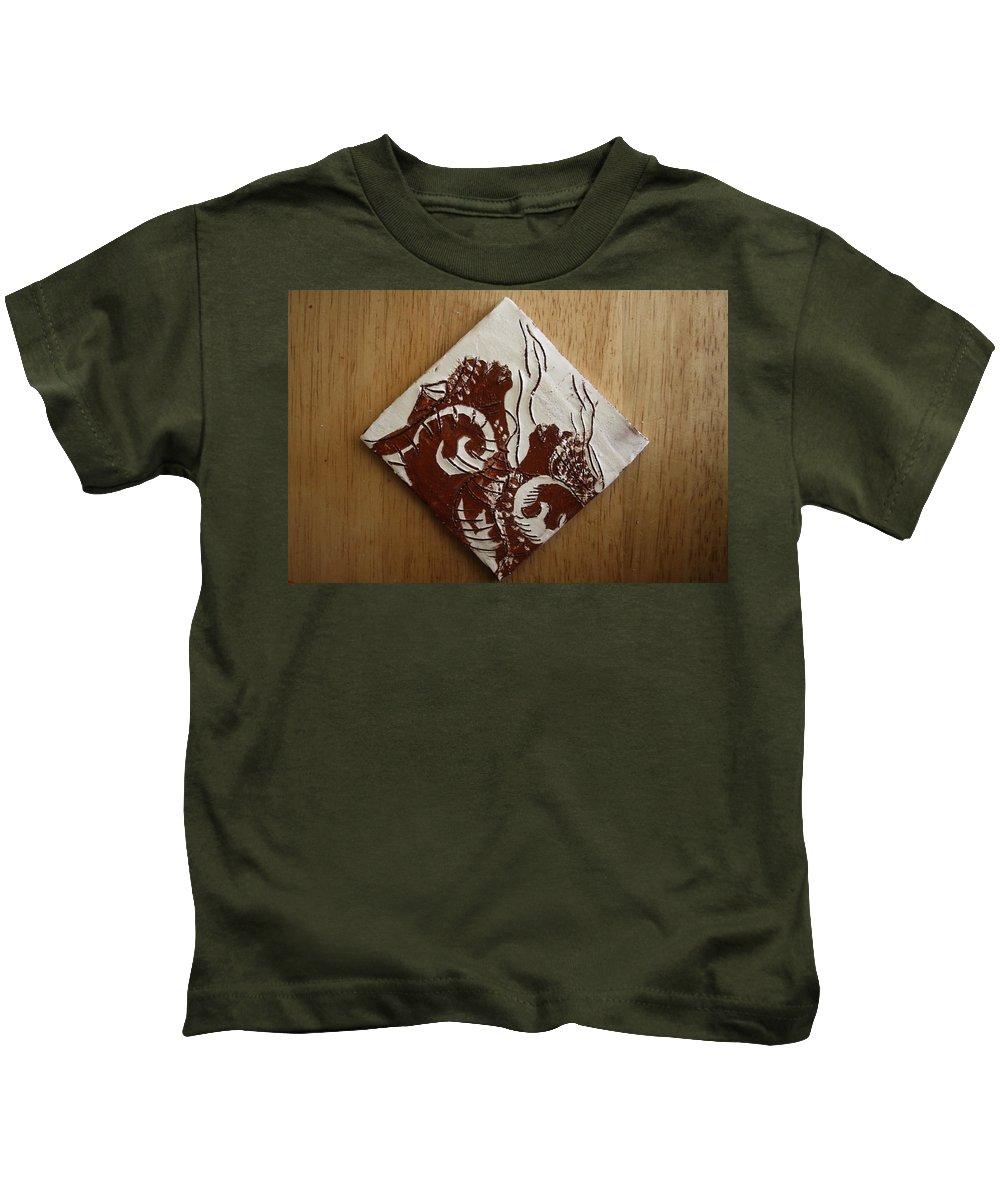 Jesus Kids T-Shirt featuring the ceramic art Awareness - Tile by Gloria Ssali