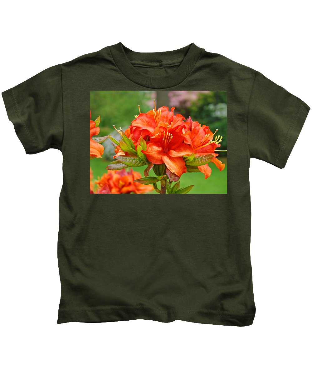 �azaleas Artwork� Kids T-Shirt featuring the photograph Azaleas Art Home Decor 14 Orange Azalea Flowers Art Prints Greeting Cards by Baslee Troutman