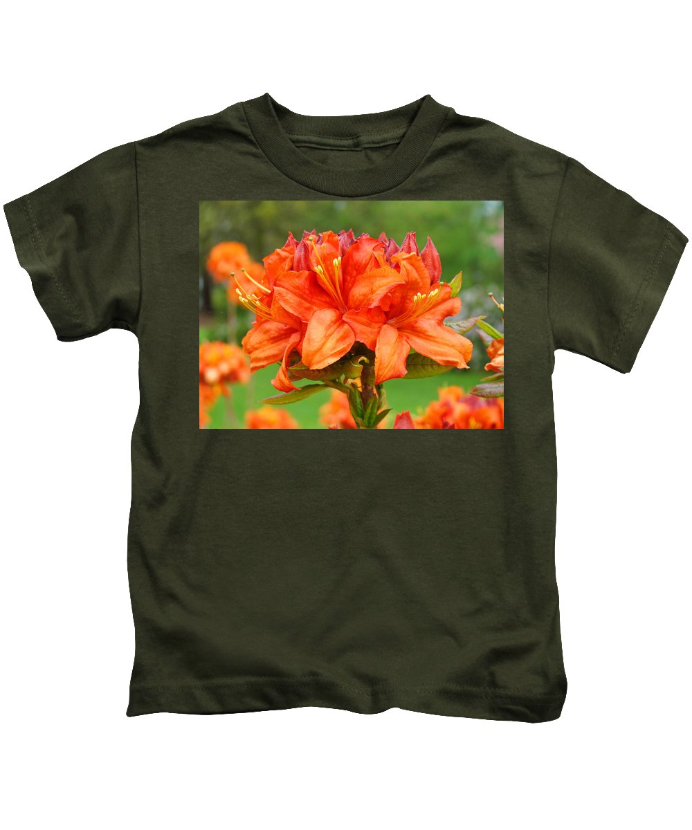 �azaleas Artwork� Kids T-Shirt featuring the photograph Azaleas Orange Red Azalea Flowers 11 Botanical Giclee Art Baslee Troutman by Baslee Troutman