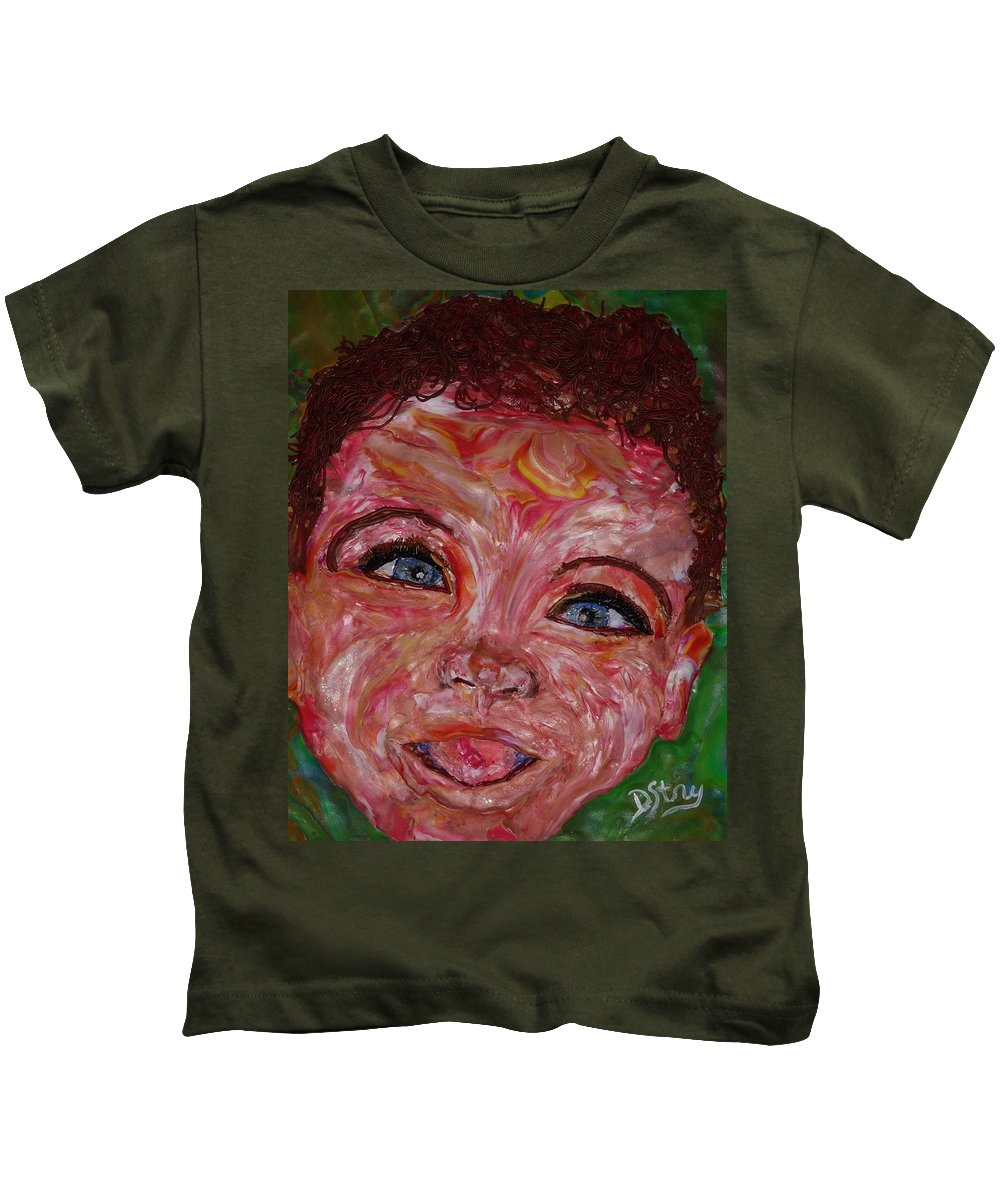 Polymer Clay Kids T-Shirt featuring the mixed media Azuriah by Deborah Stanley