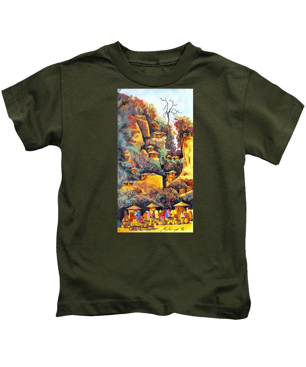 True African Art Kids T-Shirt featuring the painting B 364 by Martin Bulinya