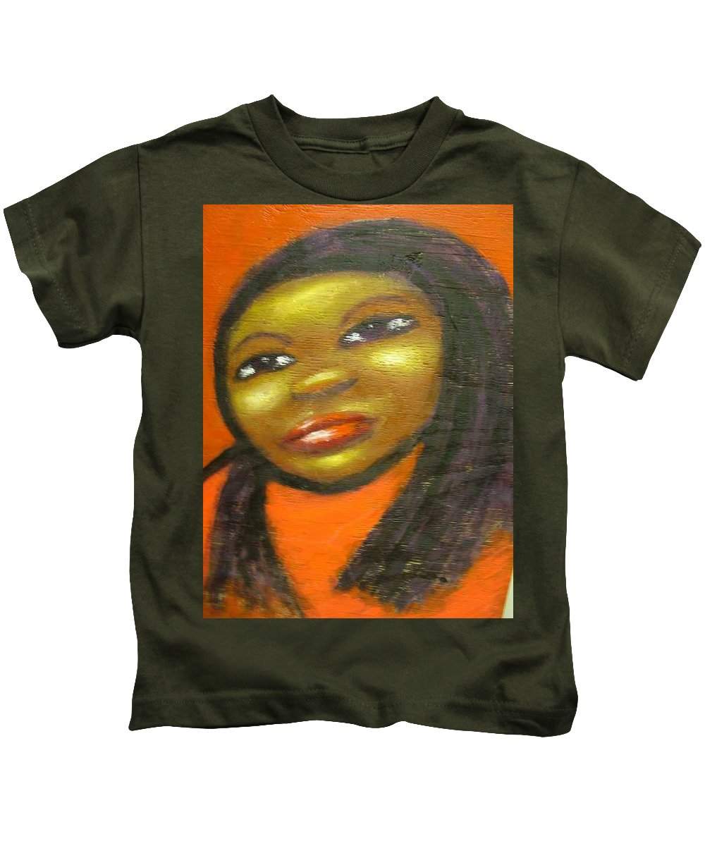 Lady In A Red Dress Kids T-Shirt featuring the painting B by Jan Gilmore
