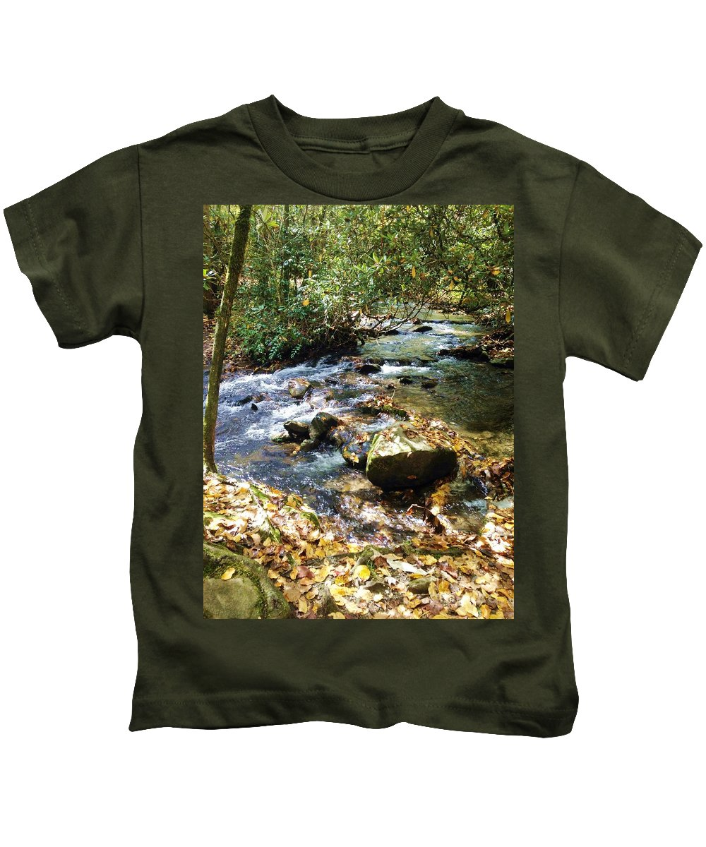 River Kids T-Shirt featuring the photograph Babbling Brook by Donna Cain
