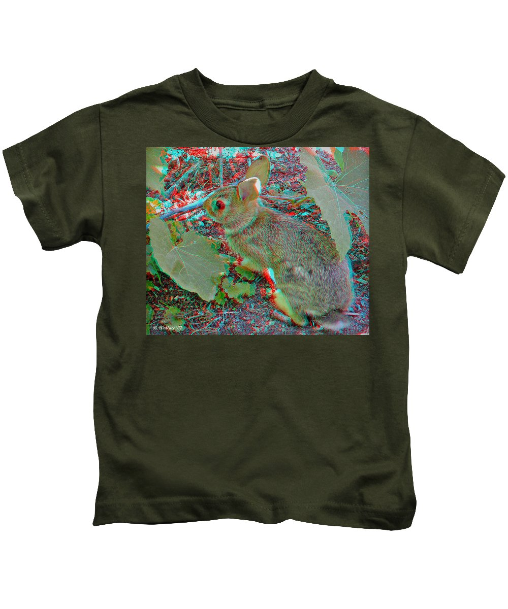 3d Kids T-Shirt featuring the photograph Baby Bunny - Use Red-cyan 3d Glasses by Brian Wallace