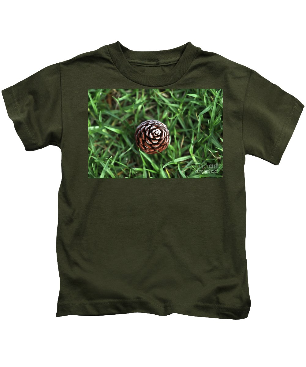 Grass Kids T-Shirt featuring the photograph Baby Pine Cone by Stephen Mitchell