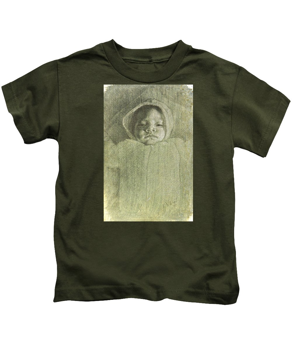 Kids T-Shirt featuring the painting Baby Self Portrait by Joe Velez