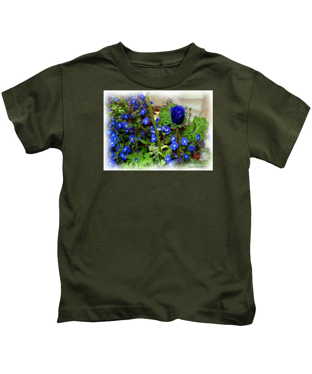 Fine Art Kids T-Shirt featuring the painting Babys Got The Blues by Patricia Griffin Brett