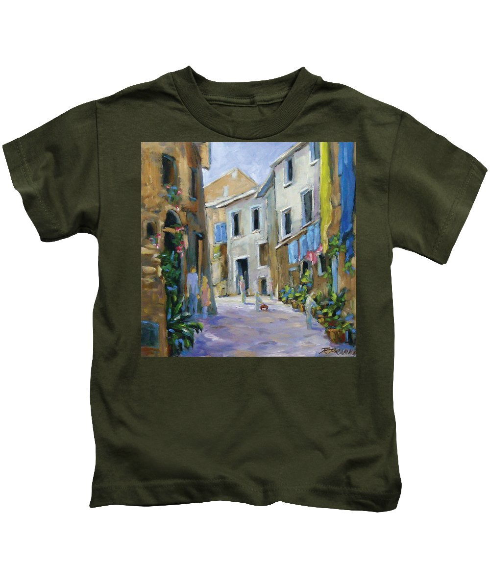 Urban Kids T-Shirt featuring the painting Back Street by Richard T Pranke