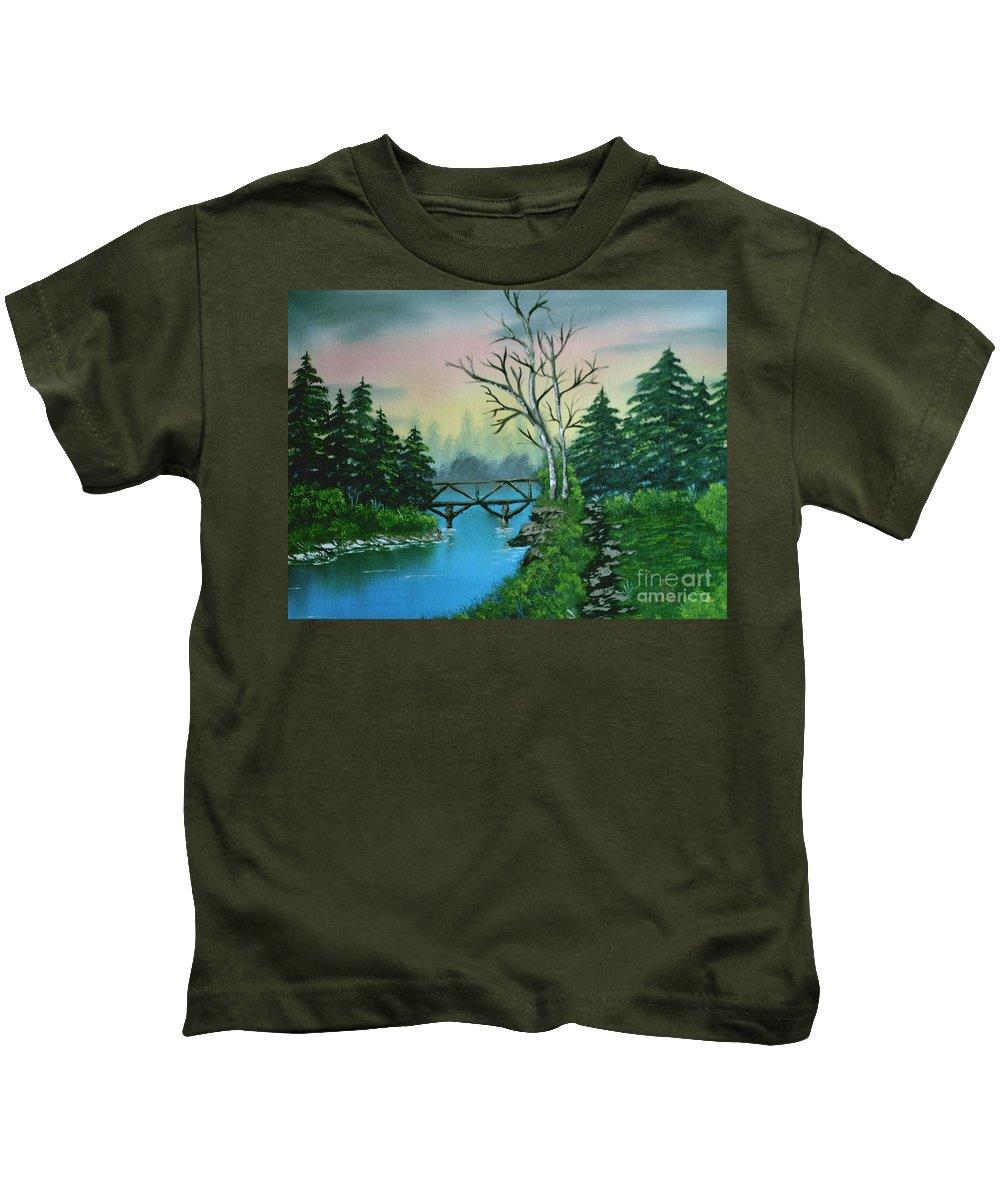 Landscape Kids T-Shirt featuring the painting Back Woods Bridge by Jim Saltis