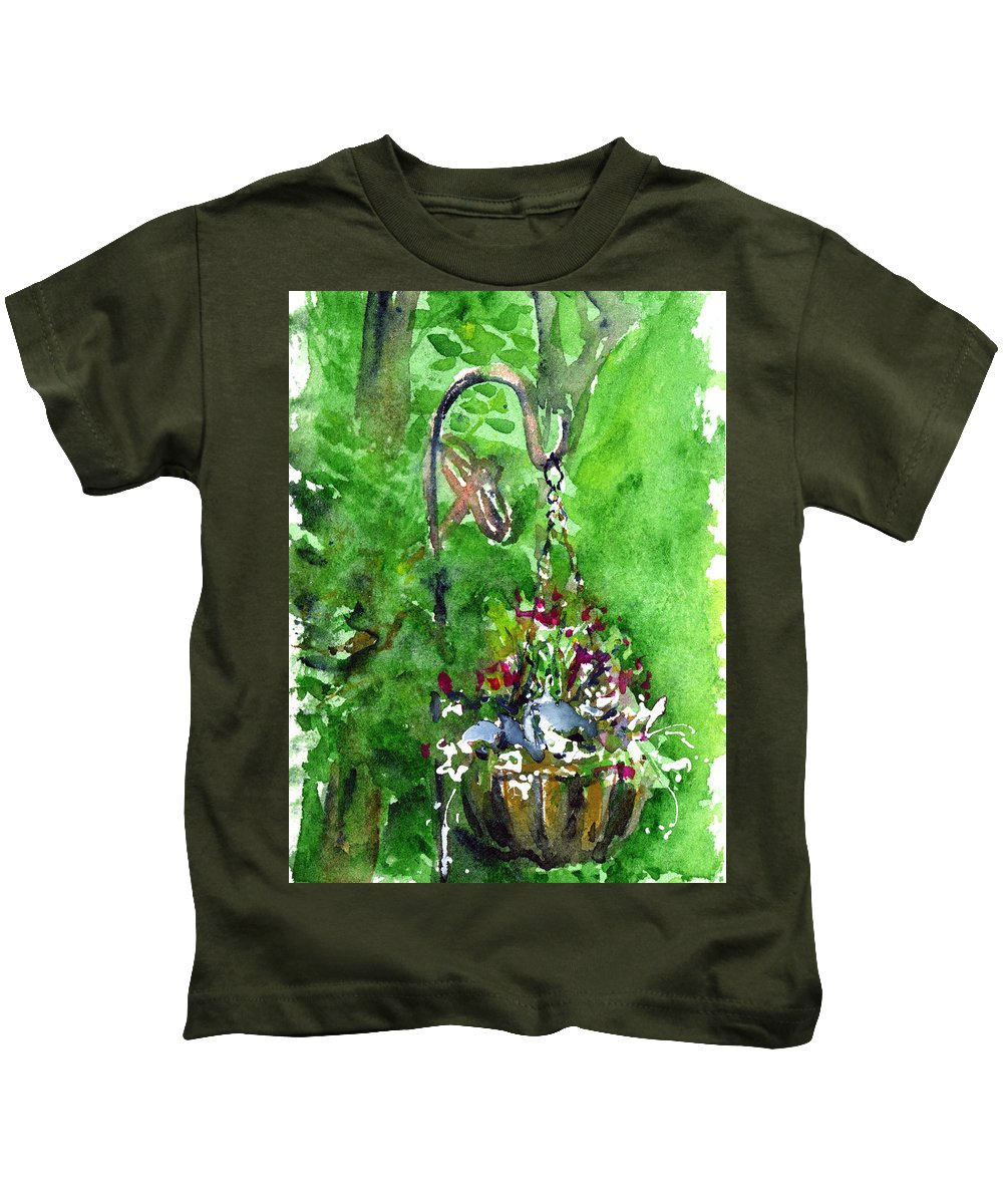 Plant Kids T-Shirt featuring the painting Backyard Hanging Plant by John D Benson