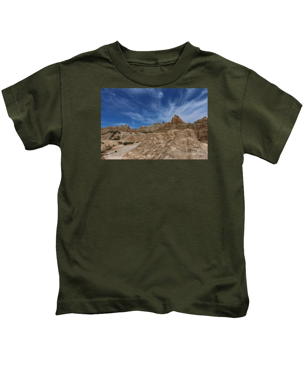 Badlands Kids T-Shirt featuring the photograph Badlands View From A Trail by Christiane Schulze Art And Photography