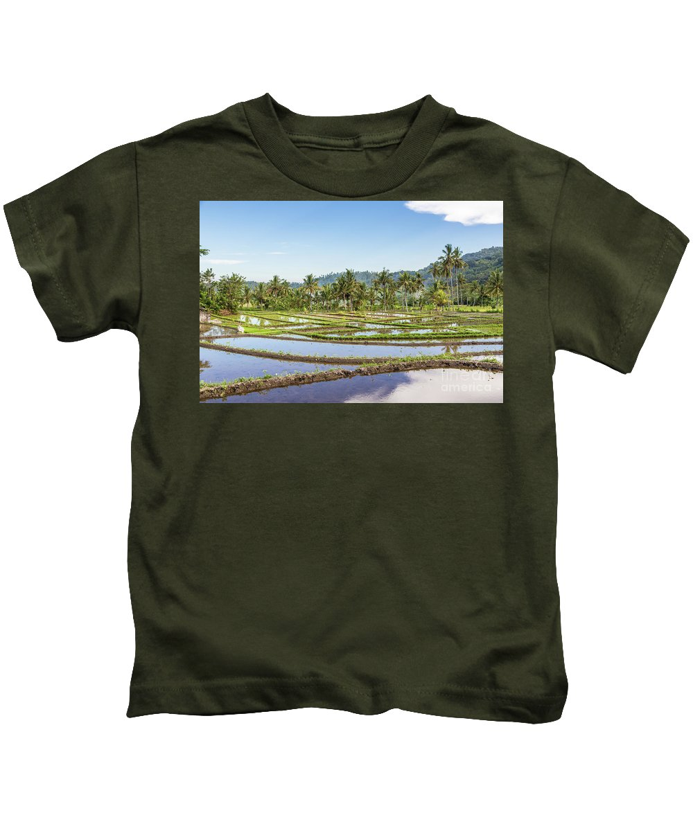 Indonesia Kids T-Shirt featuring the photograph Bali Rice Paddies by Didier Marti