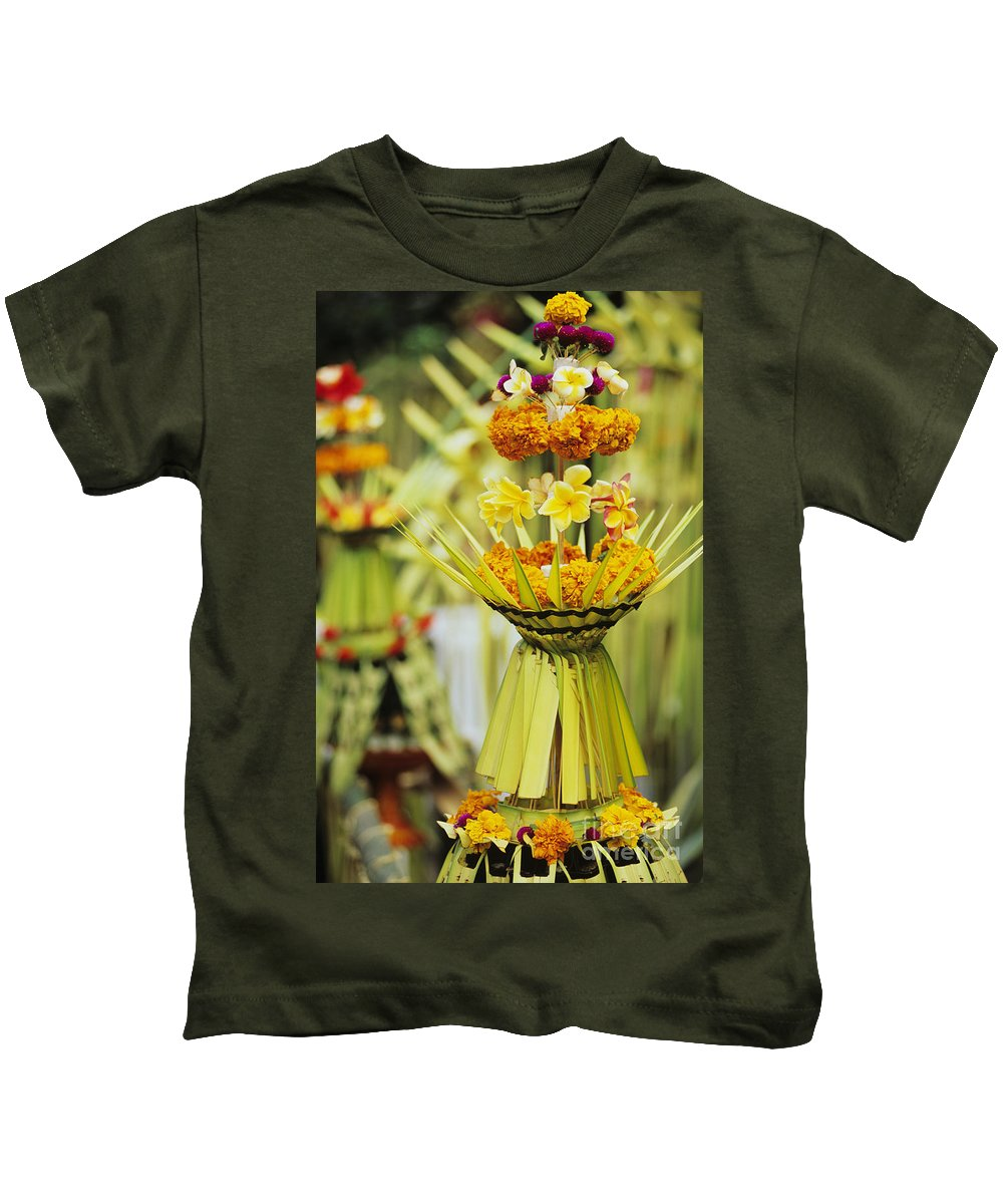 Asian Cultural Art Kids T-Shirt featuring the photograph Balinese Ceremony by Dana Edmunds - Printscapes