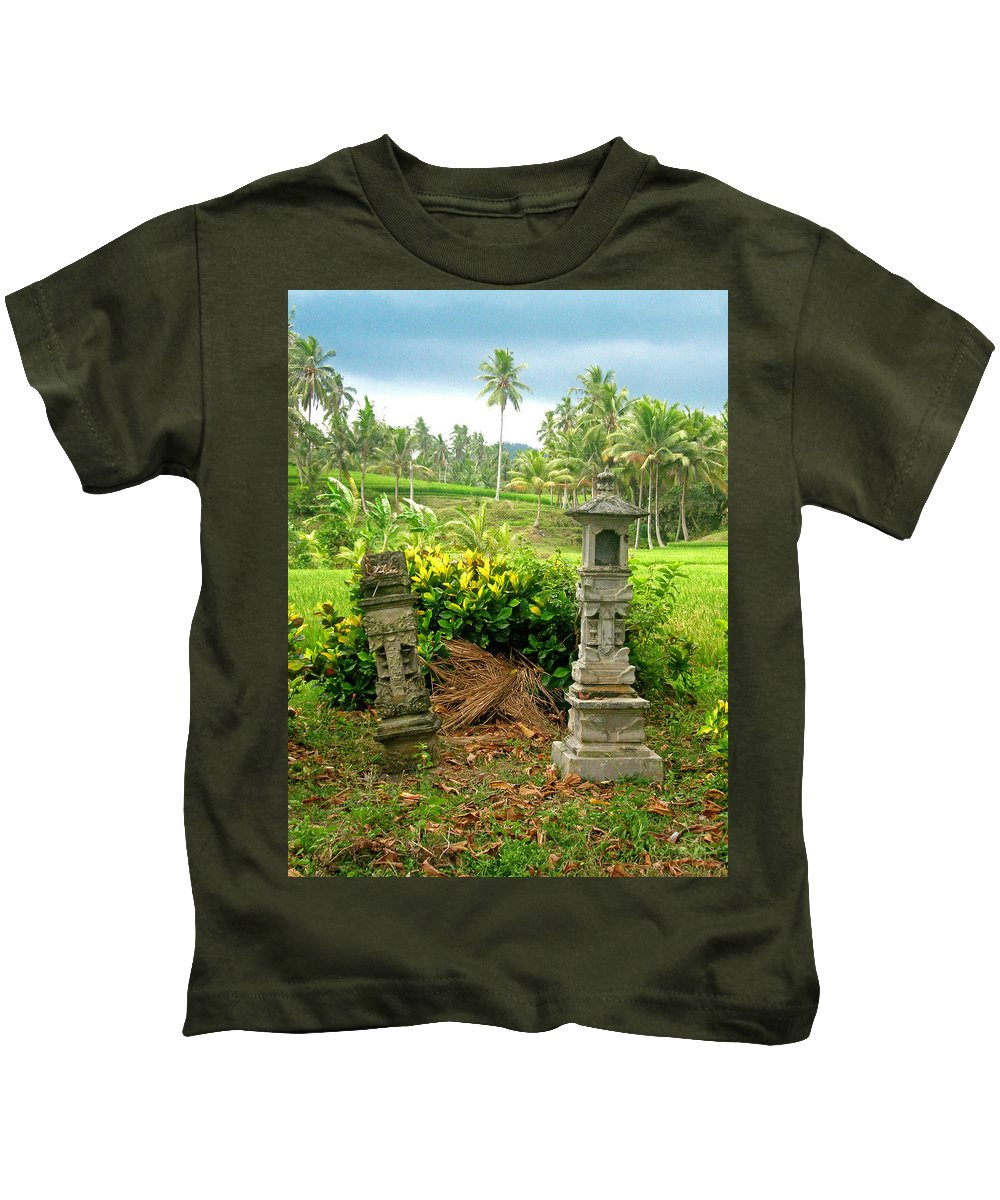 Indonesia Kids T-Shirt featuring the photograph Balinese Rice Field Shrines by Mark Sellers