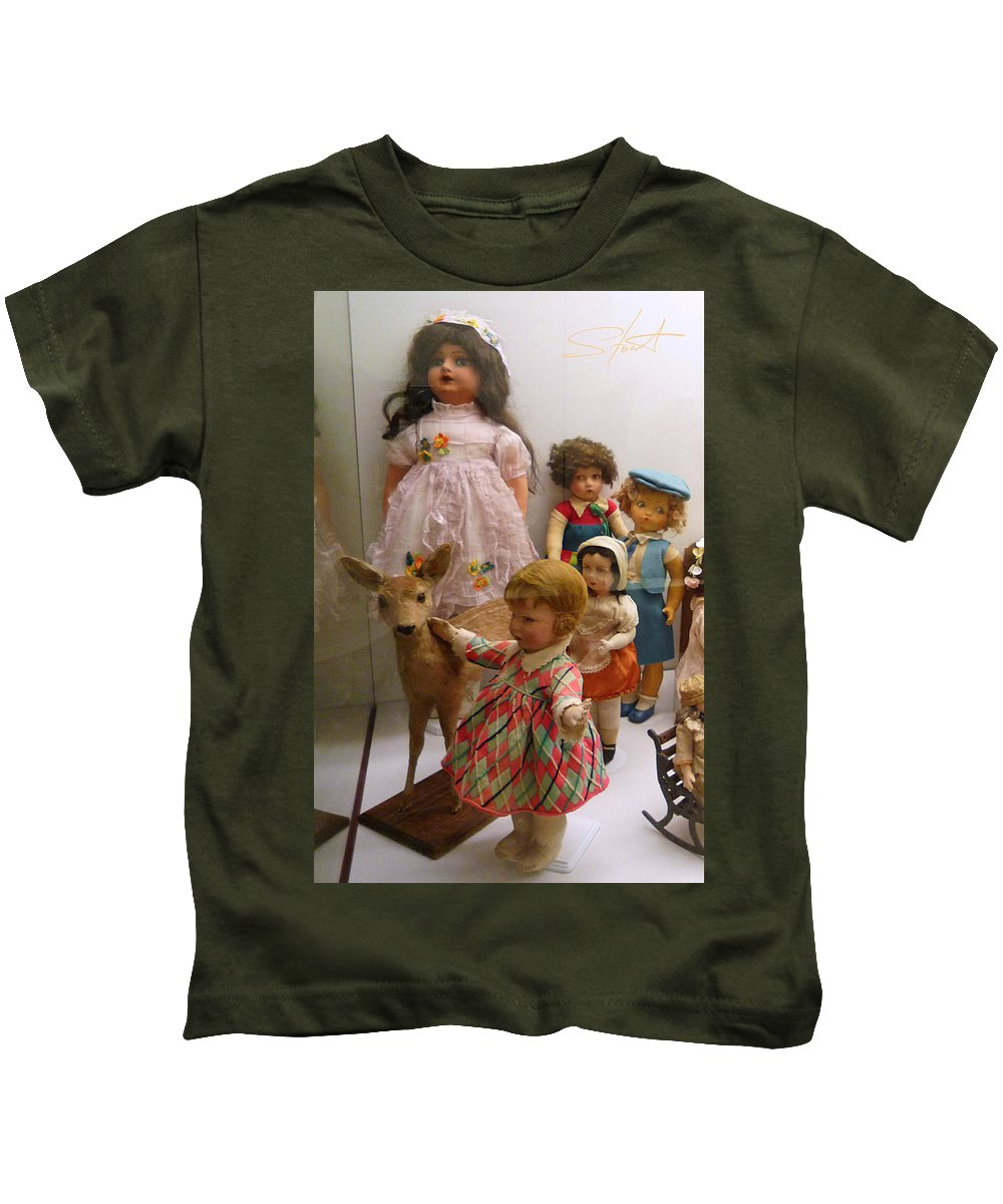 Deer Kids T-Shirt featuring the photograph Bambi And Baby by Charles Stuart