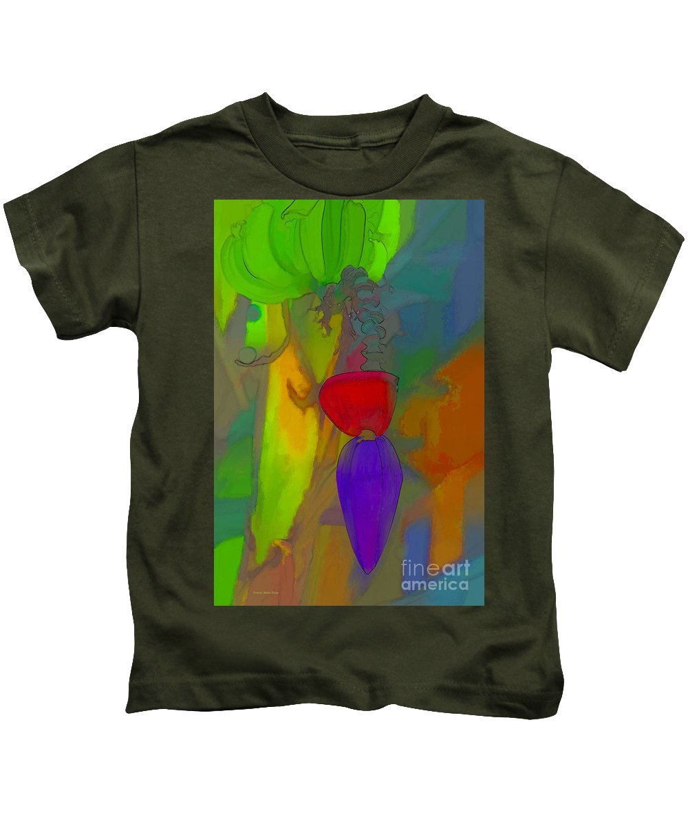 Banana Kids T-Shirt featuring the mixed media Banana Flower by Deborah Benoit