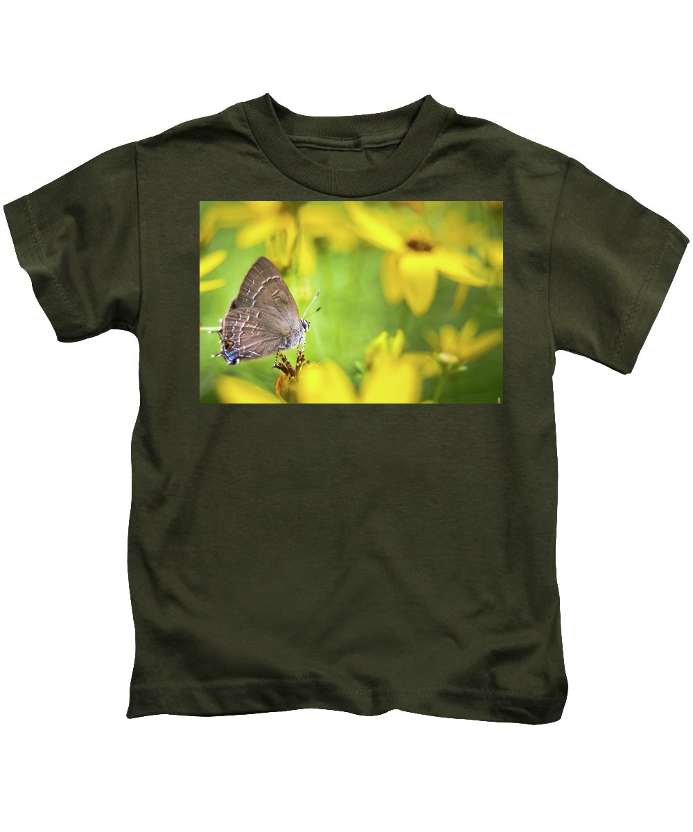 Banded Kids T-Shirt featuring the photograph Banded Hairstreak On Coreopsis by Jeanette Fellows